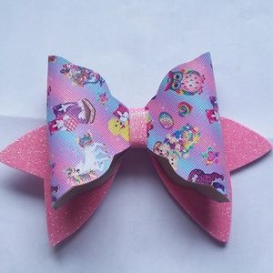 🍄 Large Faux Leather Lisa Frank Hair Bow
